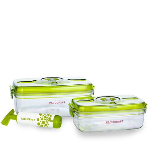3-Piece Rectangular Vacuum Food Container Set