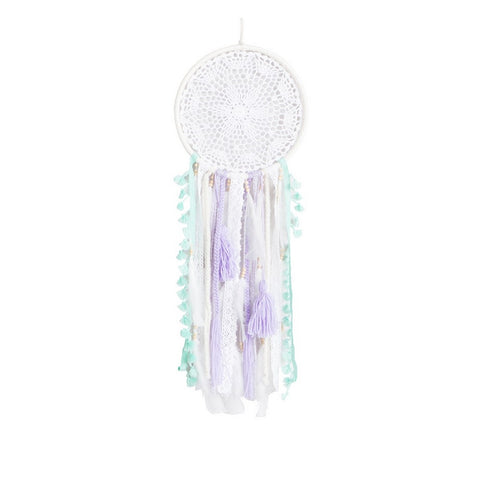 "Dream Catcher White with Green Mint and Lavander Accents,D9.5"" x L27.5"""