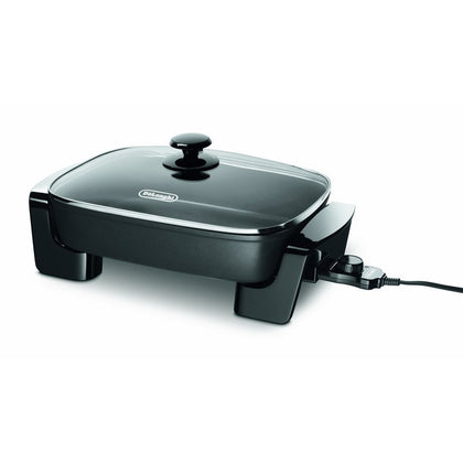 "Electric Skillet with with Glass Lid, 16"" x 12"", Black"