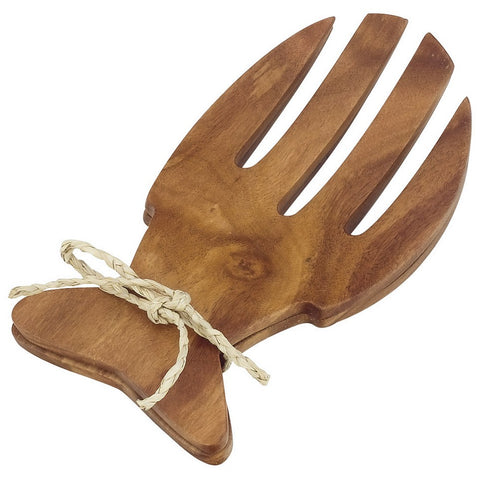 Acacia Wood Fish Shaped Salad Serving Set, 6.5""