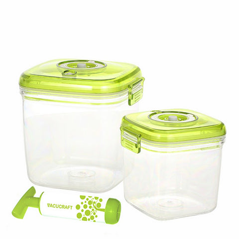 3-Piece Cube Vacuum Food Container Set