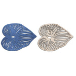 Blue Leaf Double-Sided Coasters Set of 4
