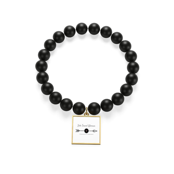 Solo Travel Woman's Empowered & Independent  Matte Onyx Bracelet - Solo Travel Woman