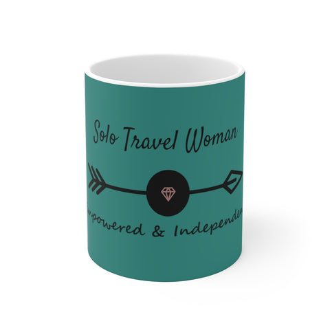 Solo Travel Woman's Empowered & Independent White Ceramic Mug - Solo Travel Woman