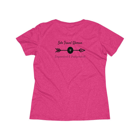Solo Travel Women's Empowered & Independent Heather Wicking Tee - Solo Travel Woman