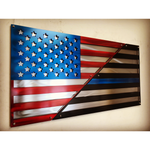 American/Blue Line Layered US Flag  / 2 Layered, Polished US Flag""