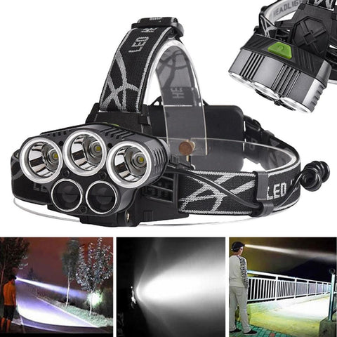 5x XM-L T6 LED USB Headlamp