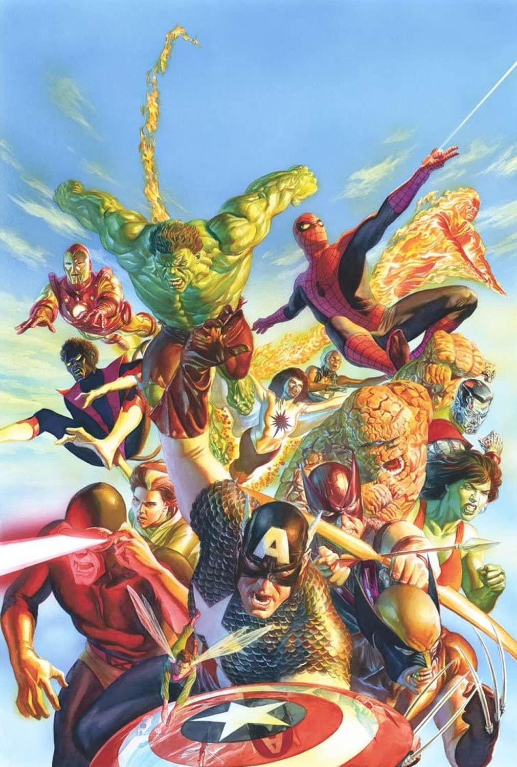 SECRET WARS BY ALEX ROSS Giclée On Canvas MARVEL FINE ART