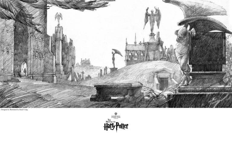 LITTLE HANGLETON GRAVEYARD Giclée on Paper HARRY POTTER FINE ART