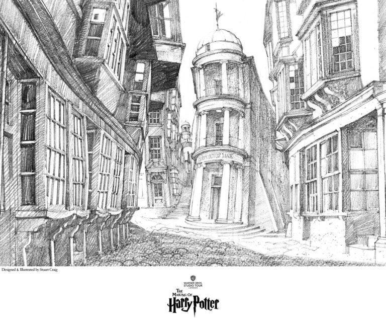 VIEW OF DIAGON ALLEY Giclée on Paper HARRY POTTER FINE ART