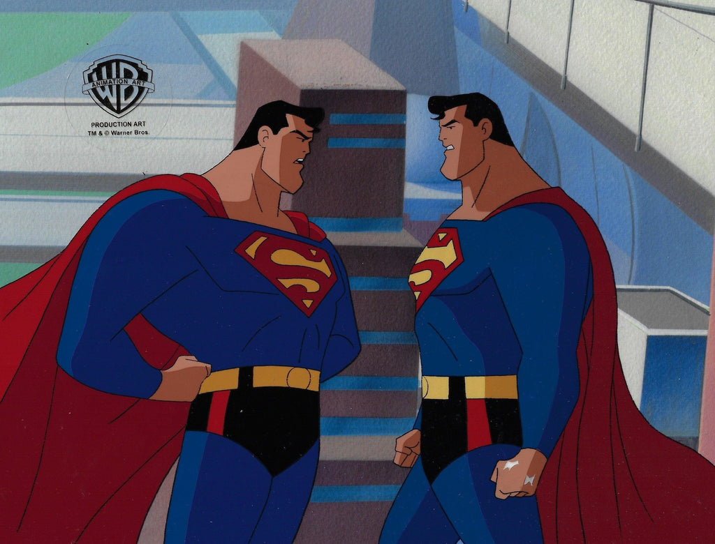 SUPERMAN: THE ANIMATED SERIES PRODUCTION CEL: SUPERMAN AND BIZZARO Original Production Cel DC COMICS FINE ART