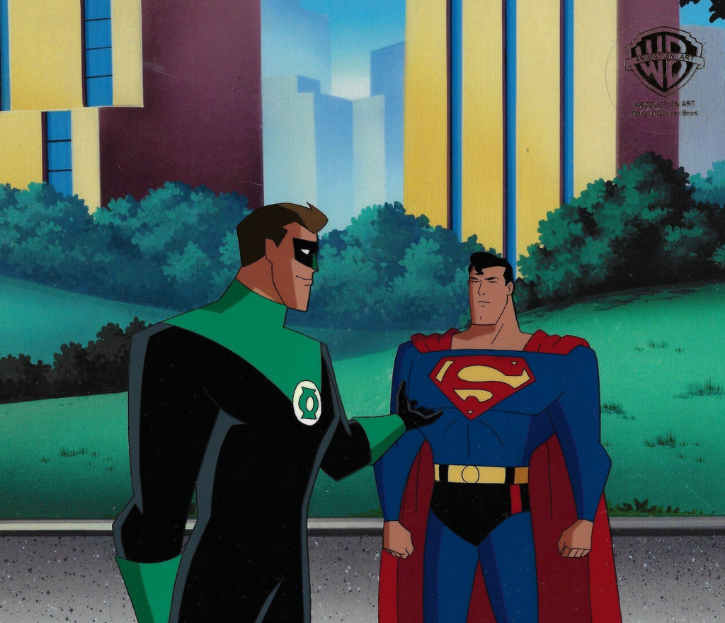 SUPERMAN: THE ANIMATED SERIES PRODUCTION CEL: SUPERMAN AND GREEN LANTERN Original Production Cel DC COMICS FINE ART