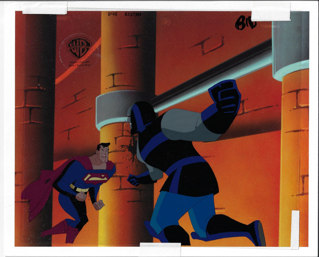 SUPERMAN: THE ANIMATED SERIES PRODUCTION CEL: SUPERMAN AND DARKSEID Original Production Cel DC COMICS FINE ART