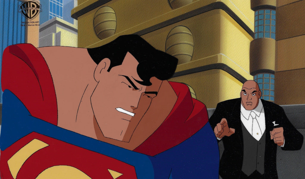 SUPERMAN: THE ANIMATED SERIES PRODUCTION CEL: SUPERMAN AND LEX LUTHOR Original Production Cel DC COMICS FINE ART