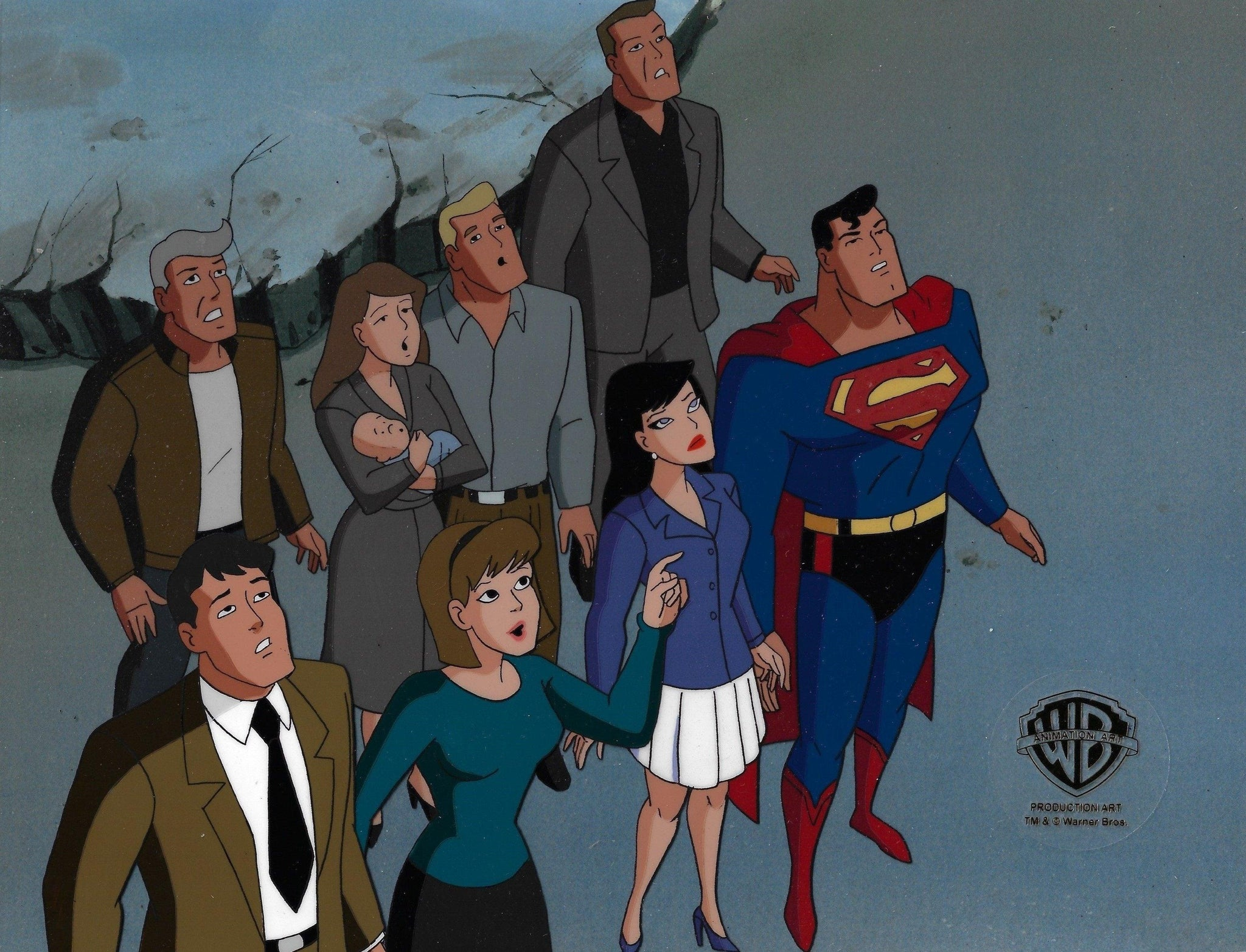 SUPERMAN: THE ANIMATED SERIES PRODUCTION CEL: SUPERMAN AND LOIS LANE