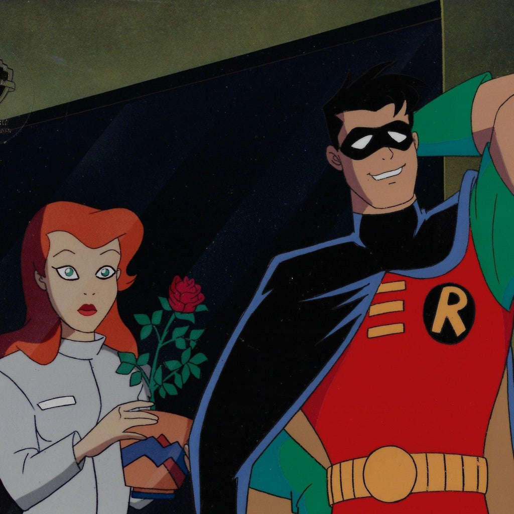 BATMAN THE ANIMATED SERIES PRODUCTION CEL: ROBIN AND DR. PAMELA LILLIAN ISLEY Original Production Cel DC COMICS FINE ART