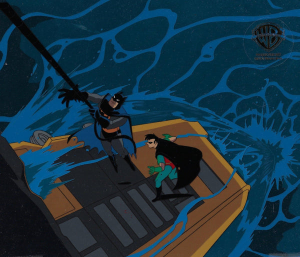 BATMAN THE ANIMATED SERIES PRODUCTION CEL: BATMAN AND ROBIN