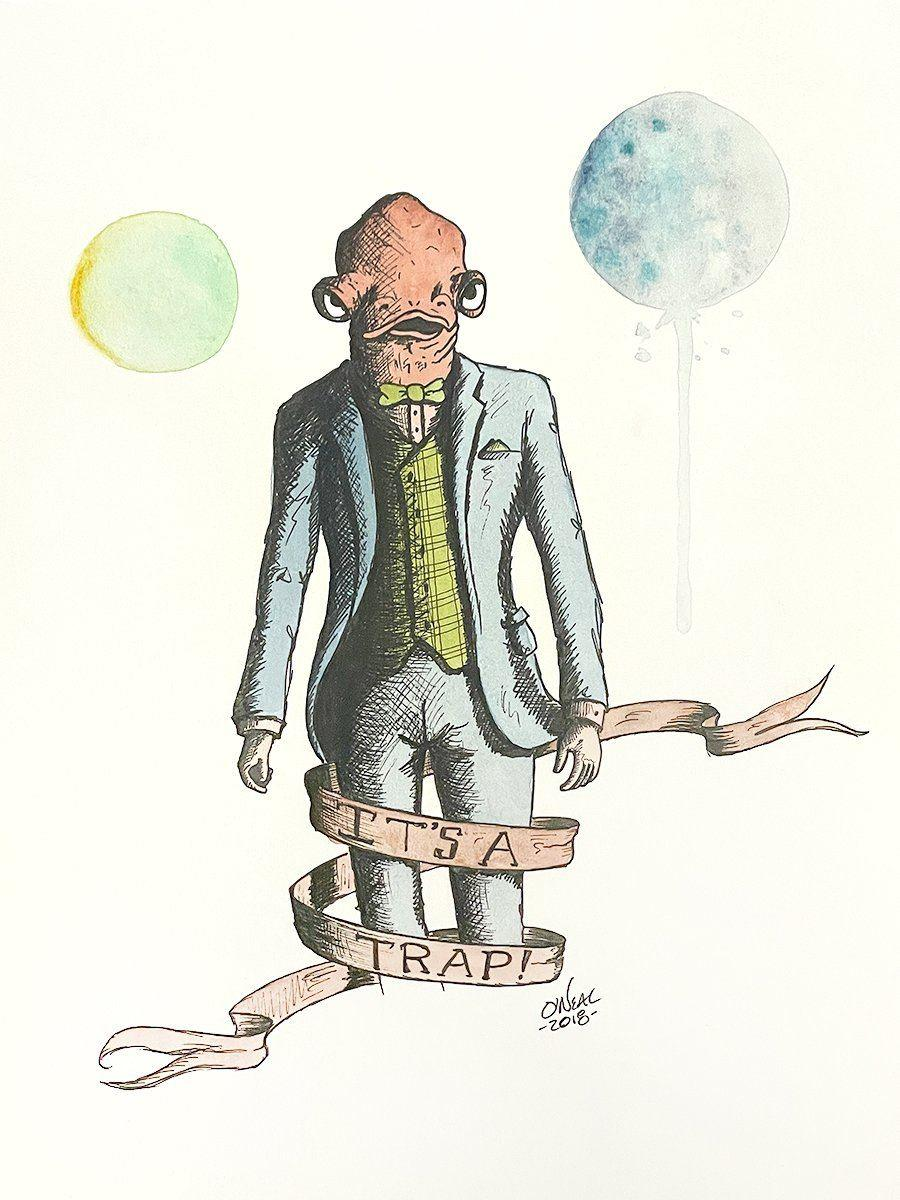 ADMIRAL ACKBAR ORIGINAL WATERCOLOR Original Watercolor Colin O'Neal