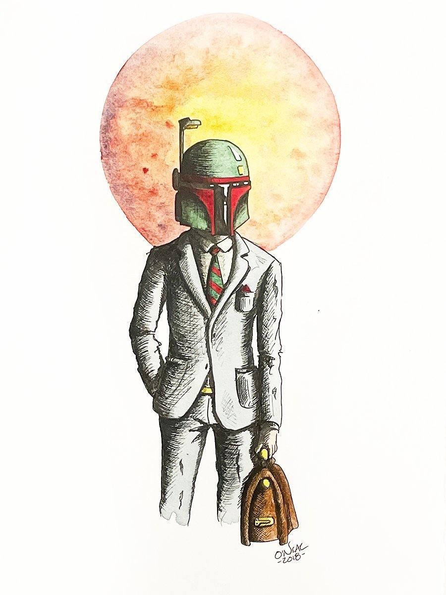 BOBA FETT ORIGINAL WATERCOLOR Original Watercolor Colin O'Neal
