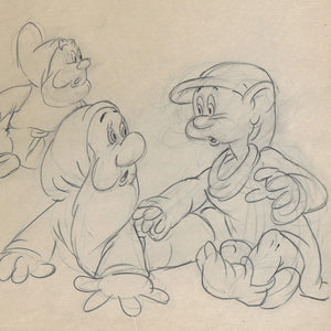 SNOW WHITE ORIGINAL PRODUCTION DRAWING: FIVE OF THE SEVEN DWARFS