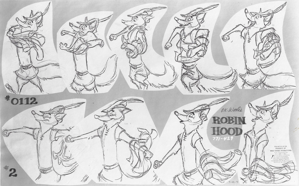ROBIN HOOD ORIGINAL PRODUCTION MODEL SHEET Model Sheet Walt Disney Studio Art