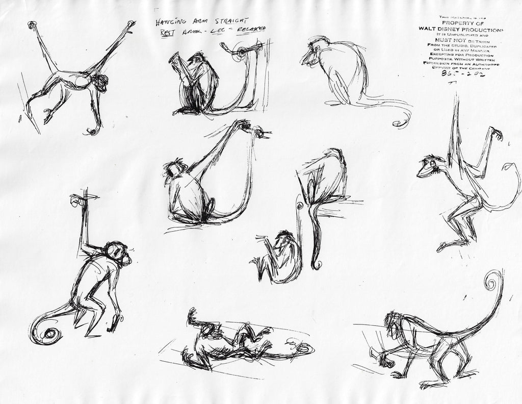 THE JUNGLE BOOK ORIGINAL PRODUCTION MODEL SHEET Model Sheet Walt Disney Studio Art