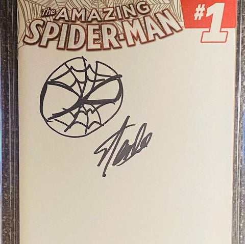THE AMAZING SPIDER-MAN #1 MARVEL COMICS CGC GRADED: SIGNED AND SKETCHED BY STAN LEE