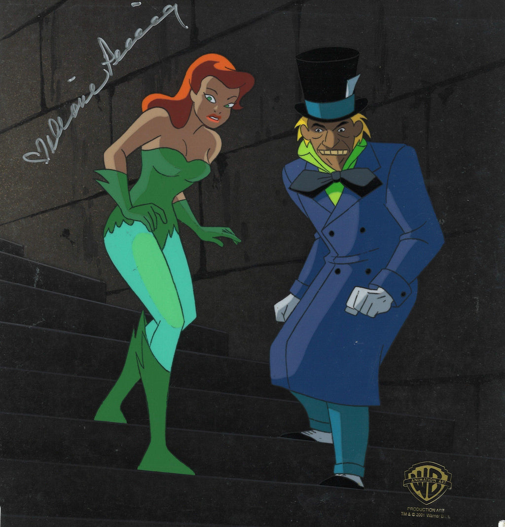 BATMAN THE ANIMATED SERIES ORIGINAL PRODUCTION KEY SETUP: POISON IVY AND MADHATTER Original Production Cel DC Comics Studio Artist