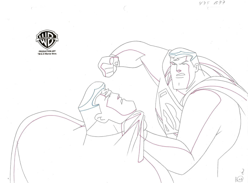 SUPERMAN: THE ANIMATED SERIES PRODUCTION DRAWING: SUPERMAN Original Production Drawing DC COMICS FINE ART
