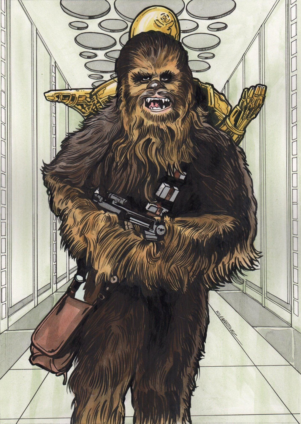 CHEWBACCA ORIGINAL ILLUSTRATION BY RANDY MARTINEZ Original Painting Randy Martinez