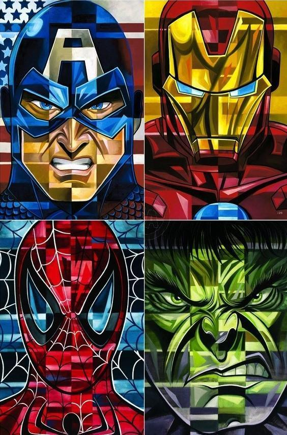 4 SQUARE HEROES BY TIM ROGERSON Giclée On Canvas MARVEL FINE ART