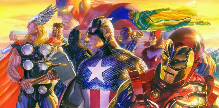 INVINCIBLE DELUXE BY ALEX ROSS Giclée On Canvas MARVEL FINE ART