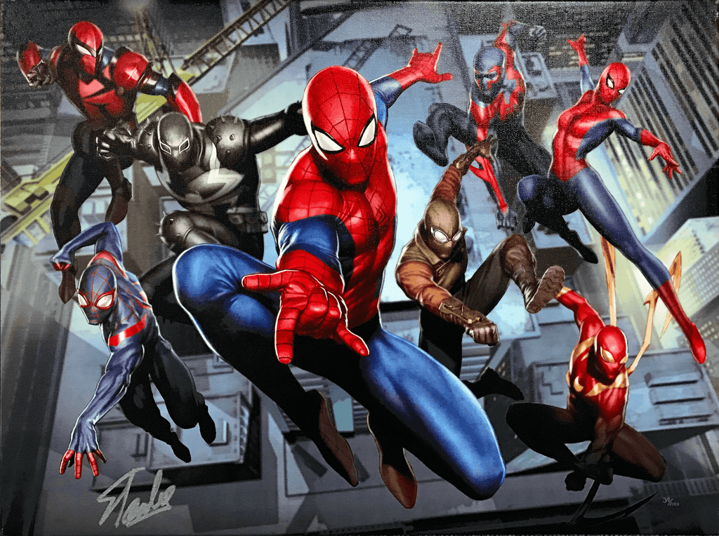 WEB WARRIORS SIGNED BY STAN LEE Giclée On Canvas MARVEL FINE ART