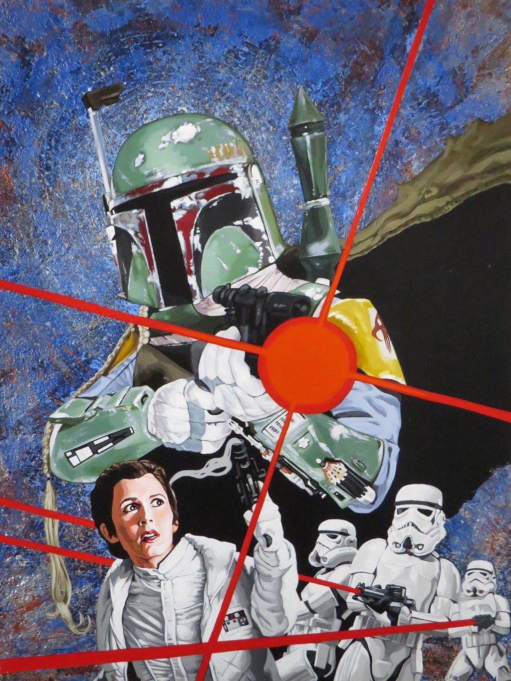 BOBA FETT ORIGINAL PAINTING ON WOOD BY RANDY MARTINEZ Original Painting Randy Martinez