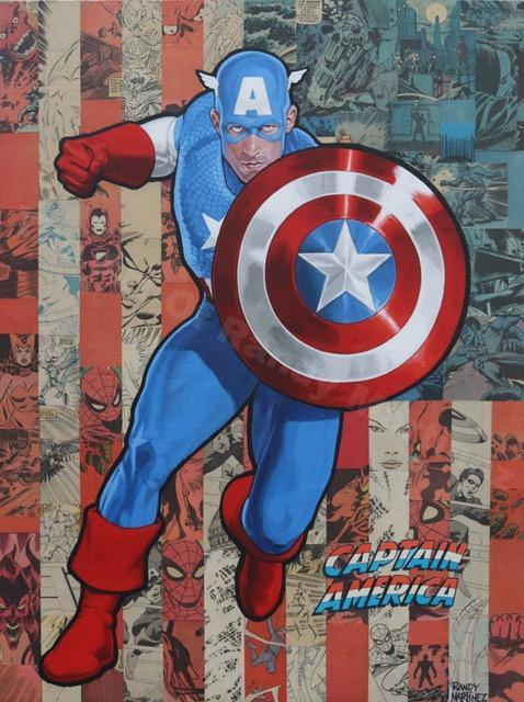 CAPTAIN AMERICA FLAG ORIGINAL PAINTING BY RANDY MARTINEZ PAINTING ON WOOD MARVEL FINE ART