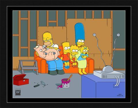 COUCH GAG: FAMILY WITH PIG Pix-Cel SIMPSONS FINE ART