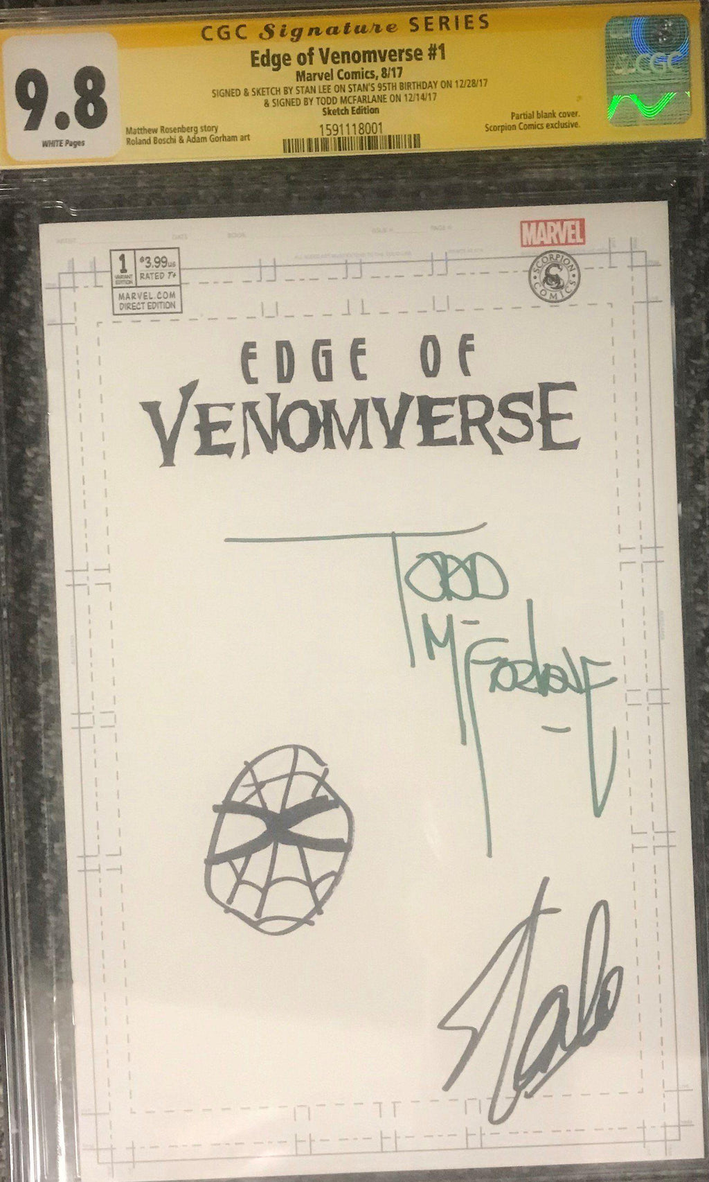 EDGE OF VENOMVERSE #1 MARVEL COMICS CGC GRADED: SIGNED AND SKETCHED BY STAN LEE CGC Graded Marvel Comic MARVEL FINE ART