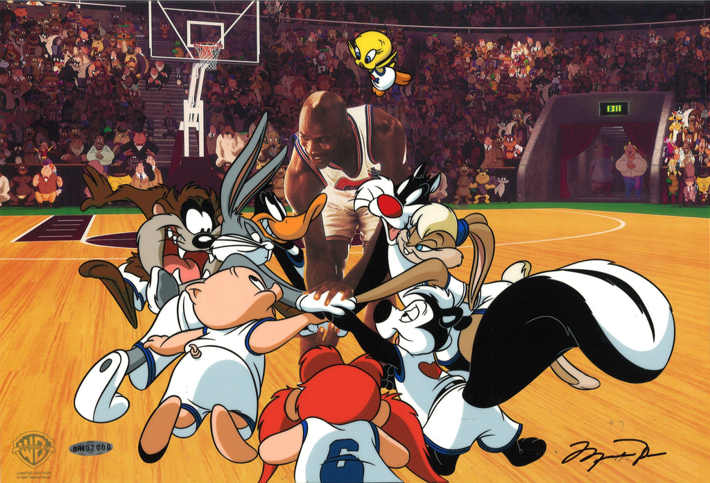 SPACE JAM: TUNE SQUAD SIGNED BY MICHAEL JORDAN Limited Edition Cel LOONEY TUNES FINE ART