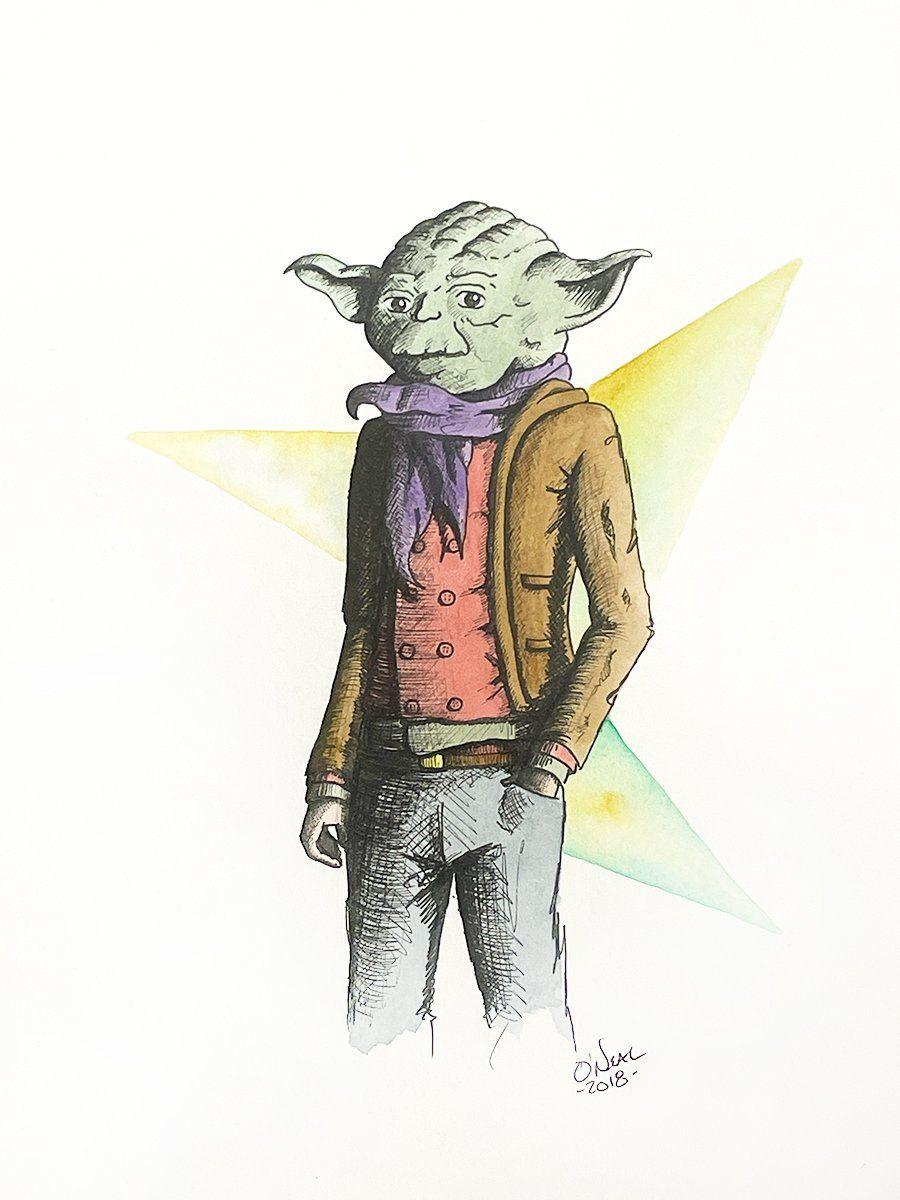 YODA ORIGINAL WATERCOLOR Original Watercolor Colin O'Neal