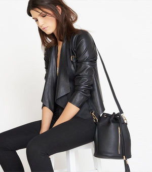Faux Leather and Suede Jacket Jet Black;HELMUT GREY