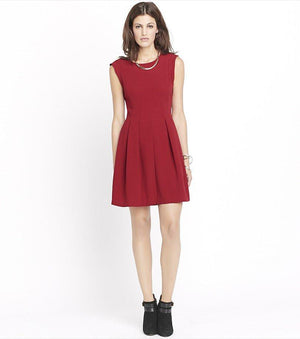 Pleated Fit And Flare Dress SURF THE WEB;HEATHER