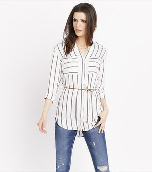 Belted Striped Tunic BLACK STRIPES