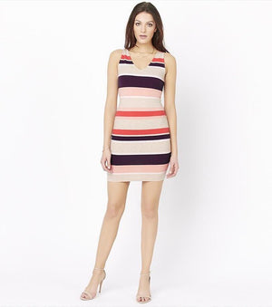 Bodycon Dress With Back Cutout MULTIPLE STRIPE