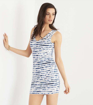 Bodycon Dress With Back Cutout WATERCOLOR STRIPES