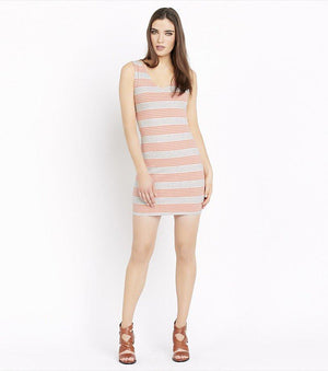 Bodycon Dress With Back Cutout CORAL STRIPES