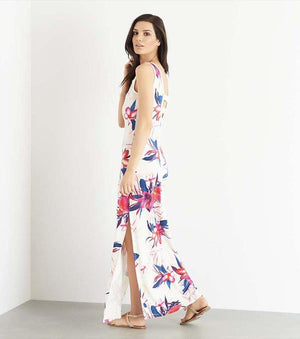 Maxi Dress with Back Cutout TROPICAL FLORAL