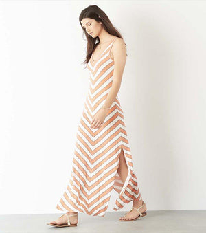 Maxi Dress with Back Cutout COLOR V STRIPES;BLACK CHEVRON