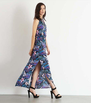 Halter Maxi Dress With Front Cutout TROPICAL FLOWERS