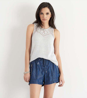 Sweater Tank with Crochet BRIGHT WHITE/SKYWAY