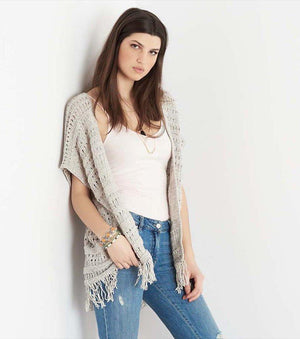 Overpiece with Fringe MARSHMALLOW/GREY